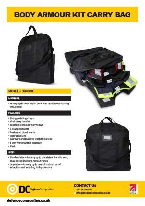 DC4000 Data Sheet Multi Body Armour Kit Carry Bag