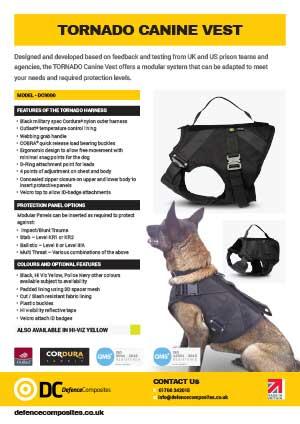 DC9000 Data Sheet Tornado Canine Vest
